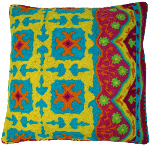 Kelim cushion cover, Boho cushion cover `cashmere` made of wool - Pattern 1 - 50x50x1 cm