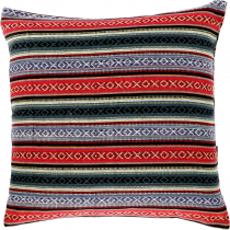 Boho style cushion cover, woven ethno cushion cover - red/green