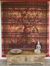 Boho style wall hanging, Indian bedspread tree of life - red