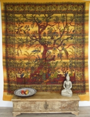 Boho style wall hanging, Indian bedspread tree of life - yellow