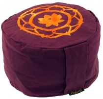 Embroidered meditation cushion with spelt filling - Lotus Mandala..