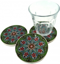 Oriental ceramic coaster, round coaster for glasses and cups with..
