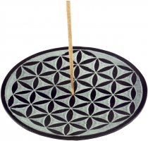 Indian soapstone incense holder, candle plate - Flower of Life 1