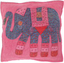 Indian cushion cover, embroidered elephant Ethnostyle cushion - p..