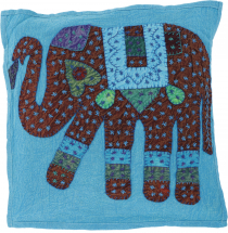 Indian cushion cover, embroidered elephant Ethnostyle cushion - t..