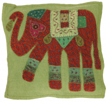 Indian cushion cover, embroidered elephant Ethnostyle cushion - l..