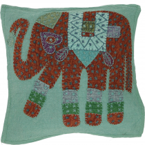 Indian cushion cover, embroidered elephant Ethnostyle cushion - a..