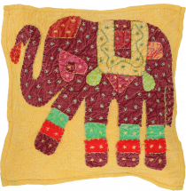 Indian cushion cover, embroidered elephant Ethnostyle cushion - s..