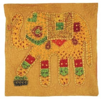 Indian cushion cover, embroidered elephant Ethnostile cushion - m..