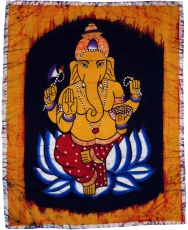 Hand painted batik picture, wall hanging, wall painting - Ganesha..