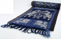 Ikat table runner, wall hanging 33*200 cm - blue