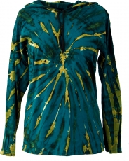 Batik Shirt, Goa Tie Dye long sleeve shirt - petrol