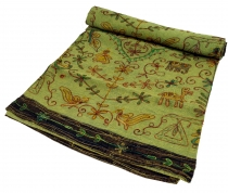 Embroidered Indian bedspread, embroidered wall scarf - lemon