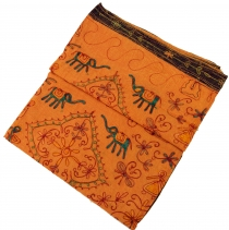 Embroidered Indian bedspread, embroidered wall scarf - orange