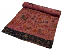 Embroidered indian bedspread, towel - bordeaux