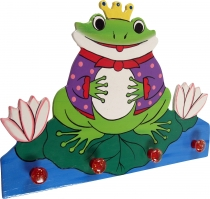Colourful children`s wardrobe wall hook - frog