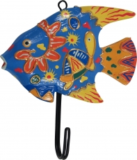 Colourful wooden coat hook, wall hook, coat hook - Fish colourful