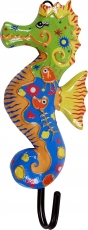 Colourful wooden coat hook, wall hook, coat hook - Sea horse