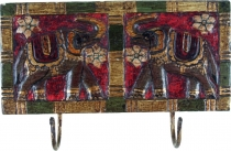Double wall hook Elephant, Indian vintage hook strip