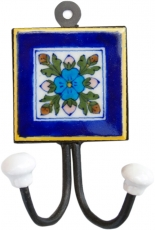 Double wall hook, coat hook with handmade ceramic tile - Model 13