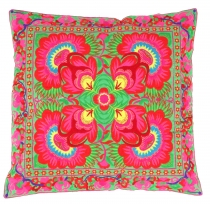 Ethno cushion cover Chiang Mai - green/pink