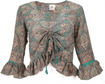 Blouse top Boho chic, silky hippie blouse with long arms - aqua