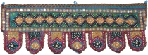 Indian tapestry, Oriental pennant with sequins, Toran - turquoise..
