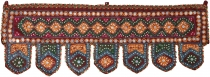 Indian wall hanging, Oriental pennant with sequins, Toran - burgu..