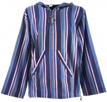 Goa hooded shirt, striped Baja Hoody - indigo