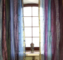 1 pair of curtains (2 pcs.) curtain made of patchwork saree fabri..