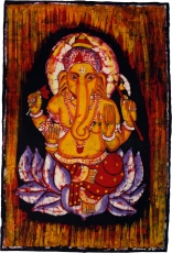 Hand painted batik picture, wall hanging, wall painting - Ganesh ..