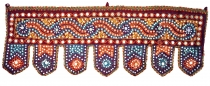 Indian tapestry, Oriental pennant with sequins, Toran - bordeaux