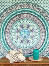 Boho style wall hanging, Indian bedspread Mandala print- green/tu..