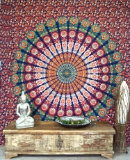Boho style wall hanging, Indian bedspread Mandala print- orange/b..