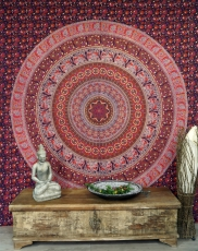 Boho style wall hanging, Indian bedspread Mandala print- red