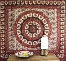 Indian mandala cloth, wall cloth, traditional bedspread - brown/r..