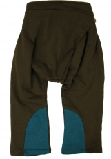Children`s harem pants, bloomers - brown/petrol