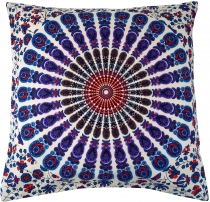 Pillowcase Mandala, printed folklore pillow - blue