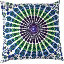 Pillowcase Mandala, printed folklore pillow - turquoise