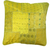 Oriental cushion cover, cushion cover Saree Patchwork - yellow