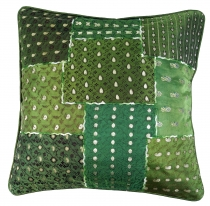 Oriental cushion cover, cushion cover Saree Patchwork - green