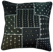 Oriental cushion cover, cushion cover Saree Patchwork - black