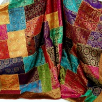 Oriental patchwork brocade blanket, Indian bedspread - Patchwork