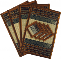 Placemat Bast Coaster Table Mat 4èr Set - brown