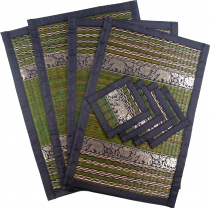 Place mat bast coaster table mat 4èr Set - henna green