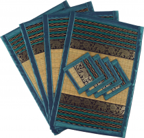 Placemat Bast Coaster Table Mat 4èr Set - turquoise