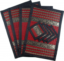 Placemat Bast Coaster Table Mat 4èr Set - wine red
