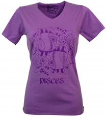 star sign T-Shirt `Fishes` - purple