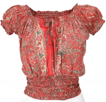 Blouse top Boho chic, hippie blouse - red