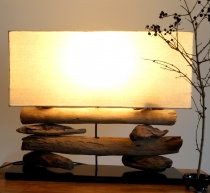 Table Lamp/Table Lamp, handmade in Bali, driftwood, cotton, uniqu..